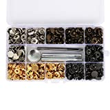 Cusfull Set de 120 Botones de Presión Colección de Corchetes Cierre Automáticos Botón de Metal...