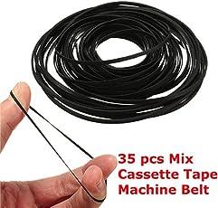 Rishil World 35pcs 40-135mm Generic Mix Cassette Tape Machine Belt Assorted Common Belt