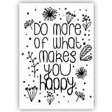 Do more of what makes you happy - DIN A5 - Handlettering, Spruchbild Spruchposter, Motivation,Statement Poster Wandbild Plakat Lebensweisheit Typo Typografie mit Spruch Zitat Wanddekoration