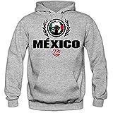 Shirt Happenz Fútbol México V2 Sudadera con Capucha | Hombre | Fútbol | Equipo Nacional | Selección Nacional | México | El Tri | Hoody, Colour:Greymelange;Size:Large