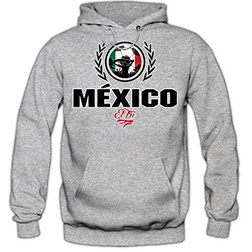 Shirt Happenz Fußball Mexiko V2 Hoodie | Herren | Fußball | Nationalmannschaft | México | EL Tri | Kapuzenpullover | HerrenHoodie, Farbe:Graumeliert (Greymelange F421);Größe:L - De Mexico Tri El