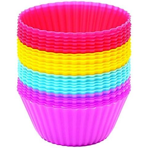 Magnus Home - Set da 24 pirottini per cupcake/mini muffin in silicone, antiaderenti, riutilizzabili