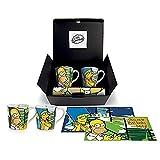 The Simpsons Homer/Marge Set Mug Tovaglietta, Porcellana, Multicolore, 4 Unità