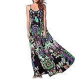LONUPAZZ Maxi Robe Longue Boheme Chic Imprimee Fleurs Femme éTé Robes De Plage Sundress Floral Print Dress sans Manche