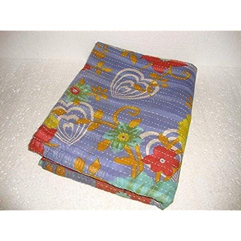 Vintage Kantha Quilt Copriletto Cotone Indiano Handmade Bohemian copriletto reversibile Ethnic Sari Ricamato Tessuto Biancheria (Reversibile Mat)