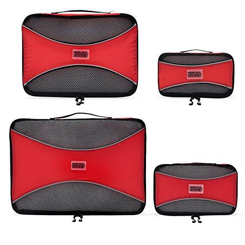 PRO Packing Cubes | Packwürfel im 4-teiligen Sparset | Taschen mit 30 % Platzeinsparung | Ultraleichte Gepäckverstauer | Ideal für Seesäcke, Handgepäck und Rucksäcke (Schwarz) Rot