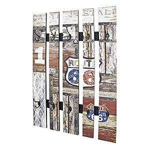 Haku Möbel Wandgarderobe - MDF und Stahl Vintageoptik mit 10 Haken Höhe 100 cm