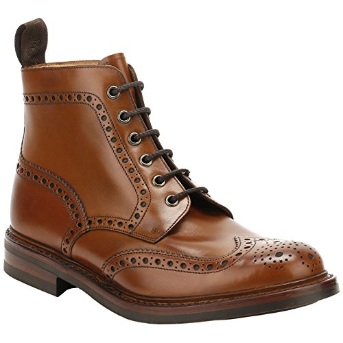 LOAKE BEDALE Tan Brogue Cuir Bottes à Lacets MADE IN ENGLAND (UK 9, Marron)