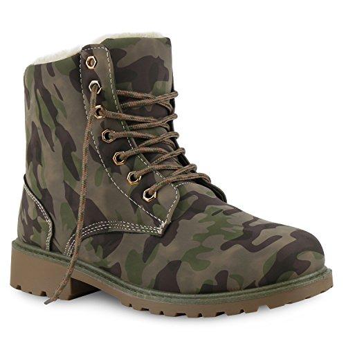 Warm Gefütterte Worker Boots Damen Outdoor Stiefeletten Bequem Camouflage Grün Weiss