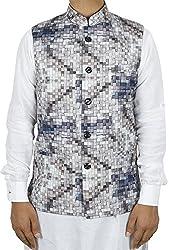 LaRainbow Mens Printed Bandhgala Modi Check Jacket-Grey (40)