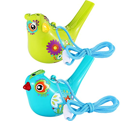 Tatuo 2 Stück Vogel Pfeife, Bunte Vogel Wasser Pfeife für Badespielzeug, Bad Vogel Pfeife für Kinder, Geburtstagsgeschenk, Ostergeschenk (Cyan und Kelly, 2 Stück) -