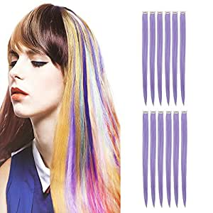 """12 Pieces , Purple : Creamily 12 Pieces of Purple 20"""" Inches Multi-colors Party Highlights Clip in Synthetic Hair Extensions"""