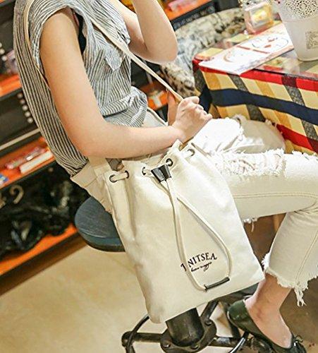 Baymate Donne Conciso Borse Riutilizzabili Colore Puro Shopping Bag Bianca