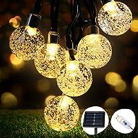 Guirlande Lumineuse Solaire, OMERIL Fairy Lights 50 LED Cristal Boules IP65 Etanche, Connecteur USB Extra, 8 Modes Lumières Décorative Intérieur et Extérieur, Maison/Jardin/Fête/Patio/Parti/Mariage