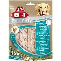 8in1 Delights Pro Dental Twisted Sticks, funktionaler und gesunder Kausnack, hochwertiges gedrehtes Hähnchenfleisch, 35 Stück (1 x 190 g)