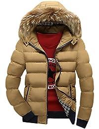YuanDian Uomo Invernali Imbottito Cappotto con Cappuccio Collare in  Eco-Pelliccia Addensare Caldo Impermeabile A b6901f5dcba