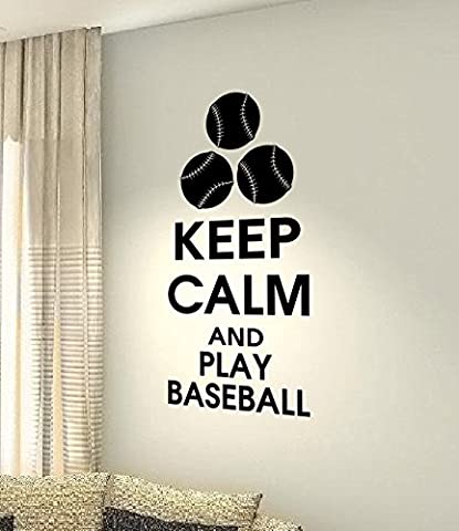 Keep Calm and Play Baseball – Sport Hobby Home cœur Life famille Love House Together Citation mur Stickers Stickers en vinyle DIY ART DECOR
