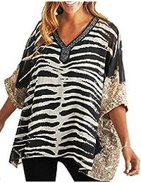 79767d6140ac4 Ladies Embellished Beaded Animal Print Kimono Tunic Top in UK Sizes 10-38  EU 36