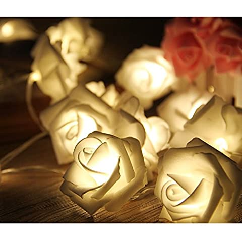 Gearmax® Eclairage Noël 20LED Batterie Fleur Rose Style Guirlande Lumineuse Claire Câble Lumières Décoratives d'Intérieur / Extérieur Light Accueil Chambre Décor Jardin Patio Porche Lawn Mariage