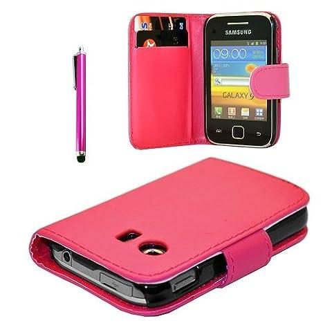 Lederklappetui für Samsung Galaxy Y GT-S 5360 Mini-Sim (mit Displayschutz und Eingabestift) rose