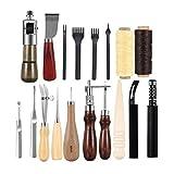 Lzndeal Set di strumenti per la lavorazione della pelle 18pcs con cuciture pieghevoli, dispositivo per cucire a mano, punta per foratura, strumento per la levigatura della forma, strumento AWL e scanalatore per strumenti di cucito per la lavorazione della pelle fatti in casa