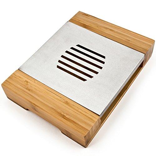 Bambus Untersetzer - Stövchen Bambus/Edelstahl - Teewärmer - Wärmer für Teekanne, Kaffeekanne, Speisewärmer - Rechaud