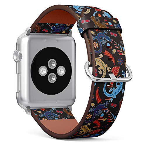R-Rong kompatibel Watch Armband, Echtes Leder Uhrenarmband f¨¹r Apple Watch Series 4/3/2/1 Sport Edition 42/44mm - Lizards, Leaves, Flowers and Acorns on a Black Background 1 Black Lizard