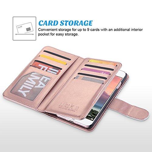 iPhone 7 Hülle, ULAK Flip Case Cover Stoßfest TPU Case Lederhülle mit Ständer Schutzhülle für Apple iPhone 7 4.7 Zoll mit 9 Kartenschlitz (Rosé Gold) Minimal Stripes Roségold