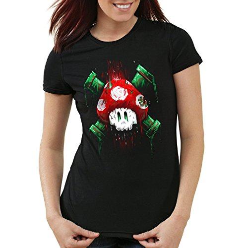 style3 Mario Totenkopf Damen T-Shirt videospiel konsole super world, Farbe:Schwarz;Größe:M