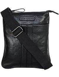 Justanned men's Black leather crossbody bag