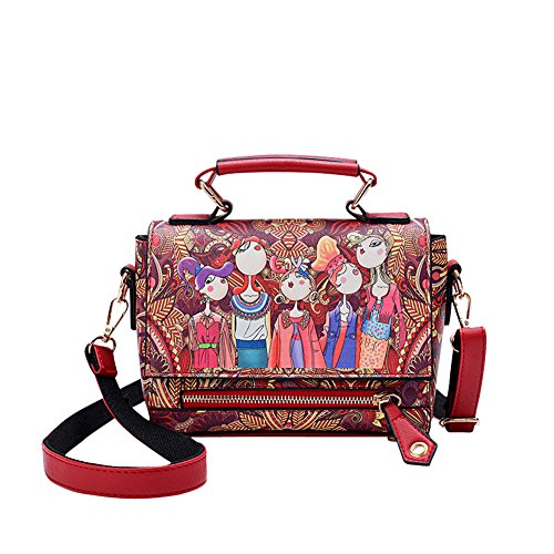 WTUS Damen Neue Forester Schulter Tragbar Diagonal Kleiner Quadratischer Verpackungsdruck Niedliche Figuren Gezeitenbeutel Beiläufige Art und Weise Handtasche Rot