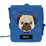 Kinder-Rucksack mit Namen Henry und schönem Motiv - Mops mit Kopfhörer - für Jungen