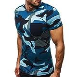 Yesmile T-shirt Tops Blouse Homme T-Shirt, Camouflage de Mode Hommes Casual Tops Slim Chemise à Manches Courtes Boxer Blouse de Personnalité (2XL, Bleu)