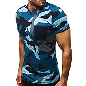 Tops Blouse Homme T-shirt, Yesmile T-Shirt Camouflage de Mode Hommes Casual Tops Slim Chemise à Manches Courtes Boxer Blouse de Personnalité (2xl, bleu)