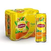 Lipton Ice Tea Peach, Non-carbonated Iced Tea Drink, Cans, 6 x 320 ml