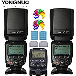 YONGNUO YN600EX-RT II Professional Creative TTL Master Flash speedlite 2PCS + YNE3-RT TTL Flashs Speedlite Transmetteur sans fil pour appareil photo Canon comme ST-E3-RT