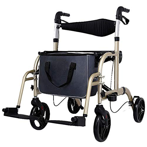 FFLSDR Älterer Wanderer-goldener Einkaufswagen, Der Manuellen Rollstuhl-höhenverstellbaren Multifunktionswanderer Faltet -