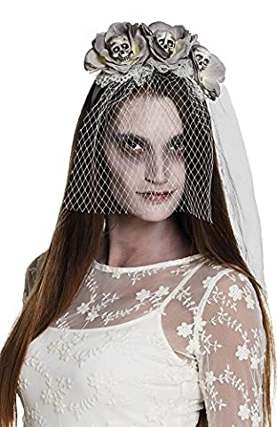 Graue Halloween Tiara mit Blumen Totenkopfen Braut-Schleier Horror Haarreif Kopfschmuck (Graue Geist Kostüm)