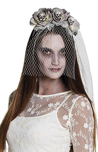 shoperama Graue Halloween Tiara mit Blumen Totenkopfen Braut-Schleier Horror Haarreif Kopfschmuck