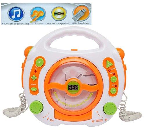 alles-meine.de GmbH CD-Player - mit USB Anschluß / MP3 / Stick / 2 Mikrofonen / LED-Display - weiß - tragbar Mikrofon - Kopfhöreranschluß - Programmiertasten - Karaoke - Netzadap..