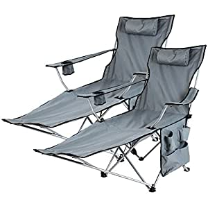 Miadomodo Folding Camping Chair Outdoor Fishing Garden Festival Furniture with Cup Holder, Headrest, Carrying Bag (Grey, Set of 2)