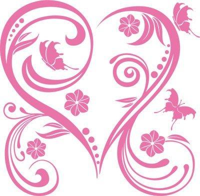 Adesivo sticker con swarovski farfalle a living fiori cuore (51x50cm // 045 rosa chiaro // elemento di swarovski set 12 pz)