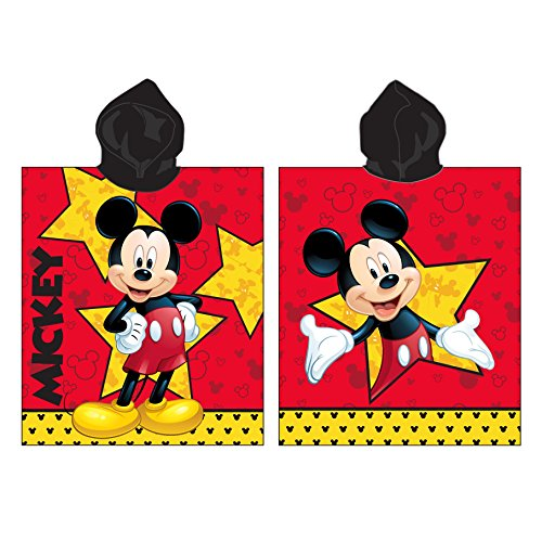 Jerry Fabrics 17PN234 Jungen Kapuzen Poncho Handtuch, 100% Qualitäts-Baumwolle, Alter 3 - 7 Jahre, Mickey Mouse, rot Mickey-mouse-handtuch