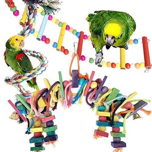 PietyPet Juguete de Loro para jaulas, Bloques de Madera Coloridos para pájaros, Loros con Campanas, Hamaca de Escalera de Madera, Percha de Cuerda para Loros pequeños y medianos, 3 Unidades