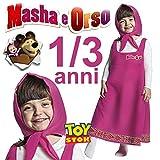 COSTUME MASHA 1/3 ANNI ABITO CARNEVALE VESTITO BIMBA MASHA E ORSO