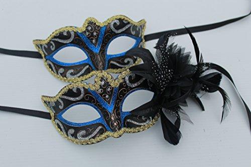 Sein und ihrs Zwei Blau und Gold venezianische Maskerade Partei Karneval Masken Für Paare (Maskerade Masken Blau)