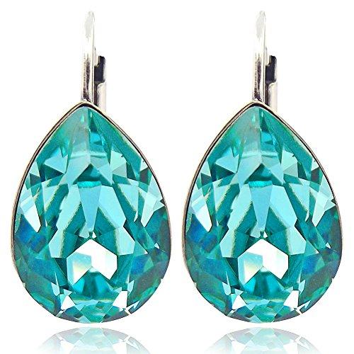 Ohrringe Türkis mit Kristallen von Swarovski® Silber NOBEL SCHMUCK