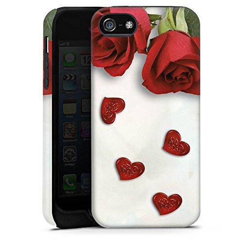 Apple iPhone X Silikon Hülle Case Schutzhülle Rose Roses and Hearts Herz Tough Case matt