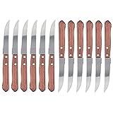 Space Home - Couteaux à Steak - Couteaux de Table - Acier Inoxydable - Manche en Bois (12 Pièces)