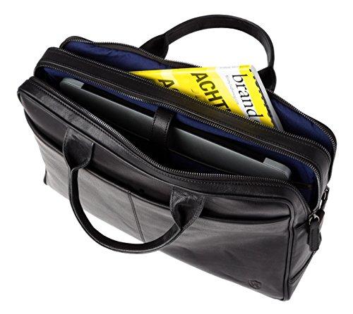 VON HEESEN Echtleder Aktentasche Laptoptasche bis 15,4 Zoll - MADE IN ITALY - Business-Tasche mit gepolstertem Laptopfach Ledertasche Umhängetasche Notebooktasche für Damen & Herren (Braun) Schwarz